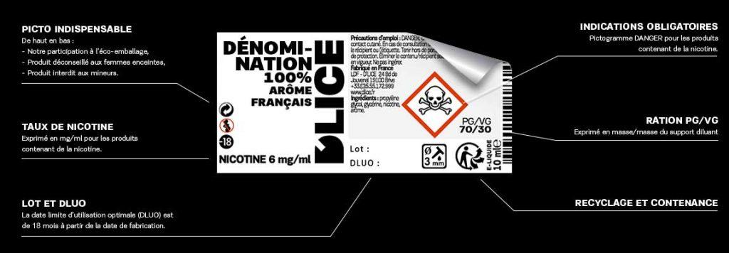 étiquette d'un e-liquide D'lice
